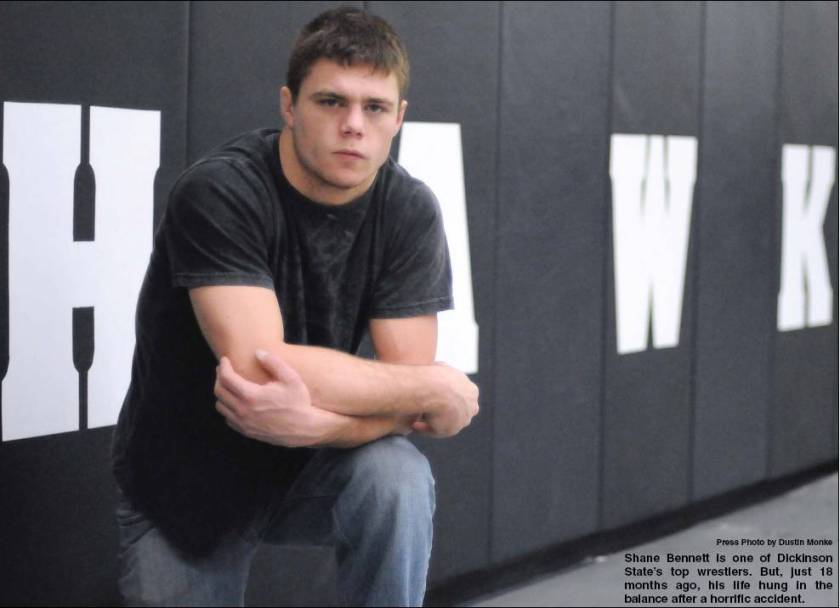 Shane Bennett is one of Dickinson State's top wrestlers. But, just 18 months ago, his life hung in the balance after a horrific accident.